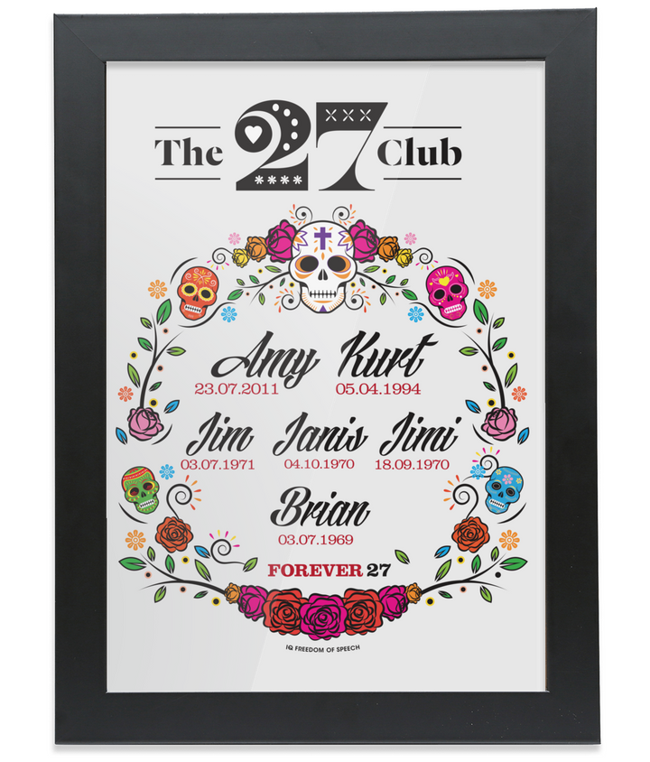 The 27 Club - Day of the Dead Circle of Flowers - Framed A4 Print