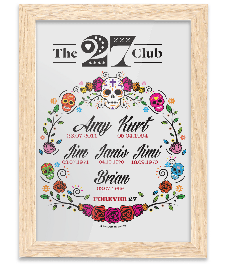 The 27 Club - Day of the Dead Circle of Flowers - Oak Framed A4 Print