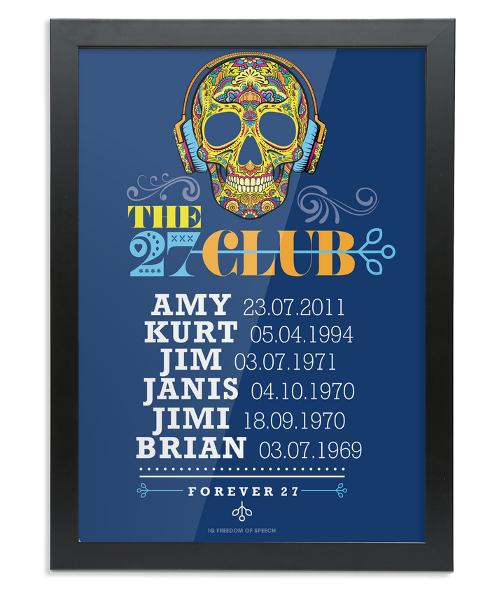 The 27 Club - Day of the Dead Skull Wearing Headphones - Framed A3 Print