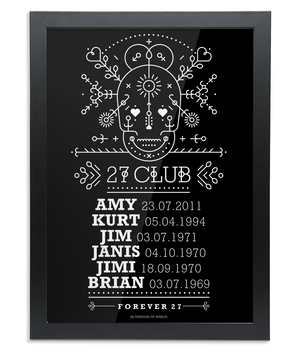 The 27 Club - Day of the Dead Line Art Skull - Framed A3 Print
