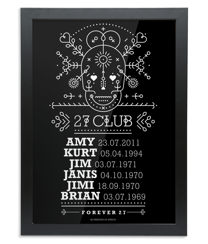 The 27 Club - Day of the Dead Line Art Skull - Framed A4 Print