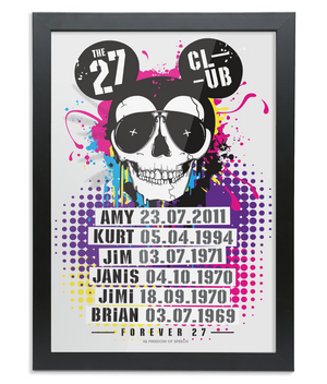 THE 27 CLUB - MOUSE SKULL - Black Framed A3 Fine Art Bamboo Print