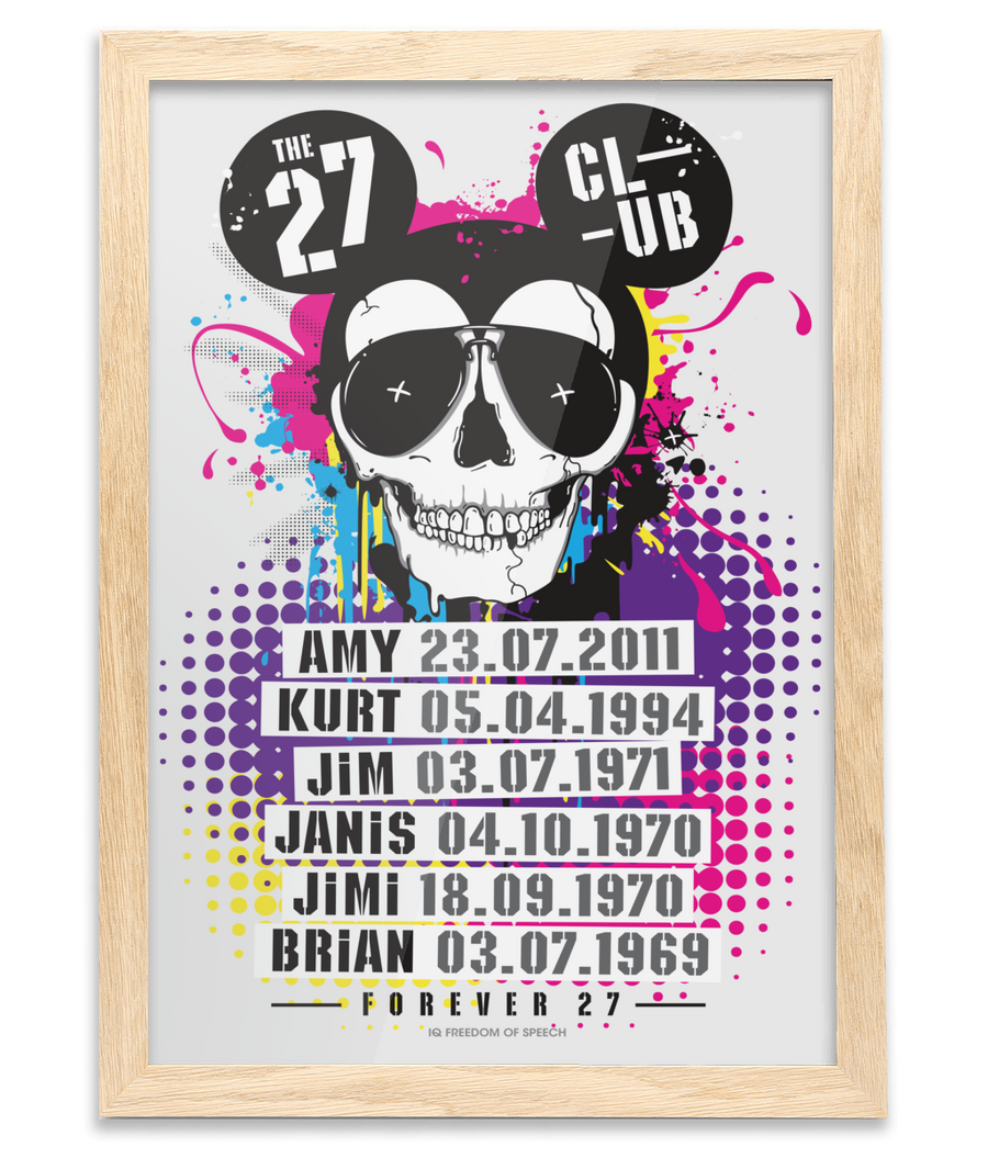 THE 27 CLUB - MOUSE SKULL - Oak Framed A3 Fine Art Bamboo Print