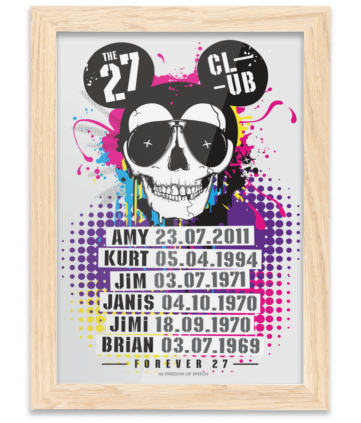 THE 27 CLUB - MOUSE SKULL - Oak Framed A4 Fine Art Bamboo Print