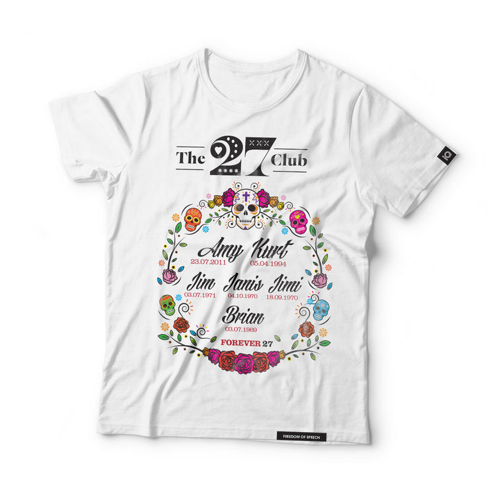 THE 27 CLUB - DAY OF THE DEAD CIRCLE OF FLOWERS T-SHIRT