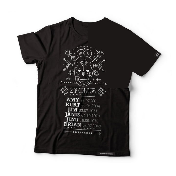 THE 27 CLUB - DAY OF THE DEAD LINE ART SKULL T-SHIRT
