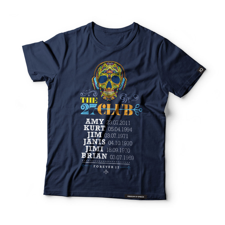 The 27 Club - Day of the Dead Skull Wearing headphones - Black Label T-Shirt