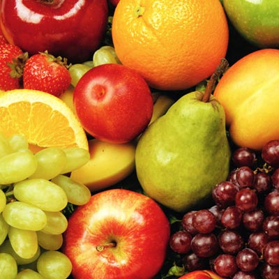 Image of various whole fruits - link to fruity products collection