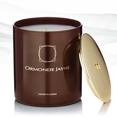 Ormonde Jayne brown candle with golden logo