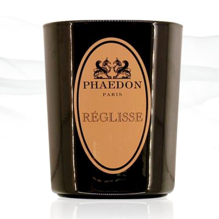 Phaedon black candle with orange label