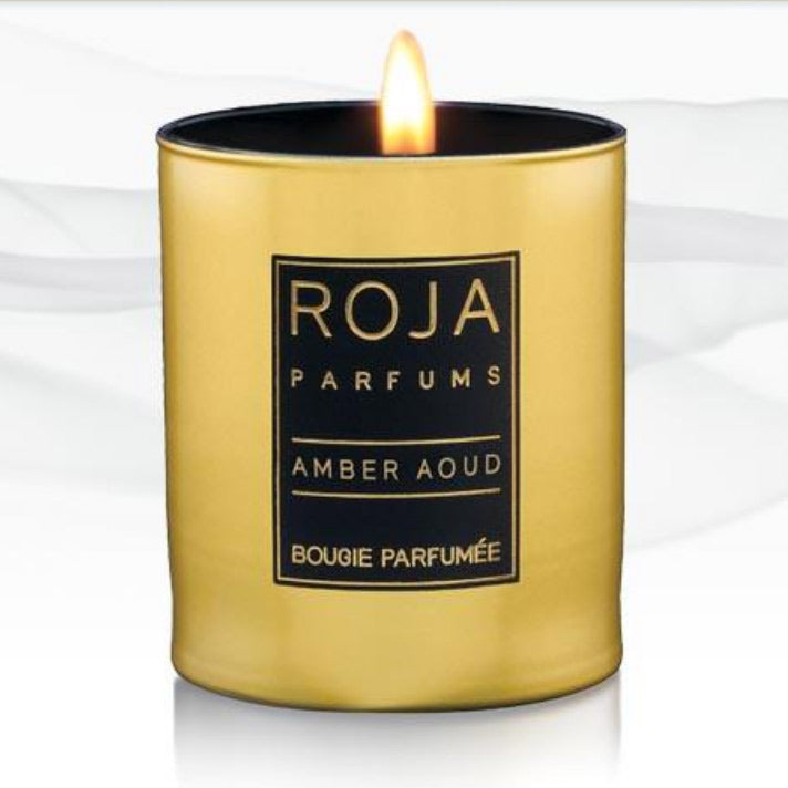 Roja Parfum beautiful golden candle with black and gold label