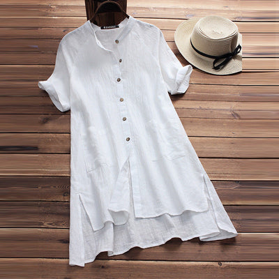 Casual Dress 2019 new casual ladies dress raglan sleeves summer Women's clothing button pocket - CarGill Sells