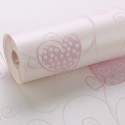 3D Pink Love Heart Cartoon Princess Girl Room Background Wallpaper Roll 3D Embossed Flocking Non