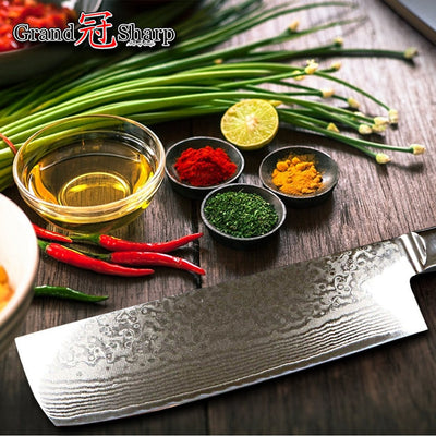 Asian Knife Japanese Damascus Steel Nakiri Tools Kitchen Knives vg10 Japanese Damascus Knives