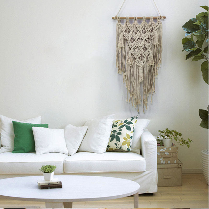 Boho Art Decor Chic Macrame Cotton Handmade Tapestry Bohemian Wall Hanging Fabric Farmhouse