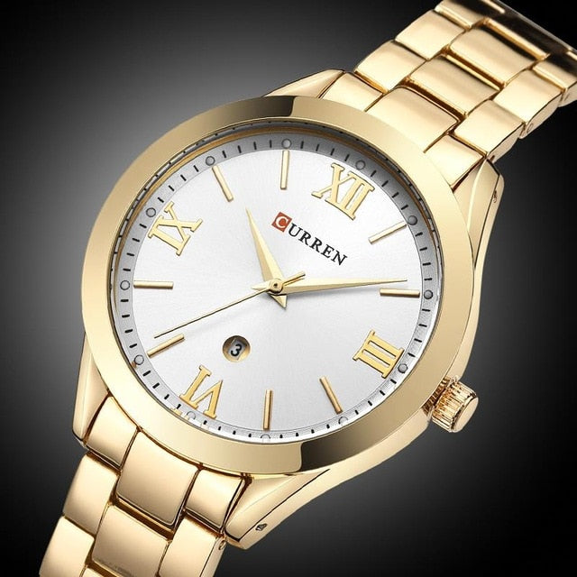 CURREN Women Watches Luxury Casual Rose Gold Steel Watch Classic Dial Ultra-Thin Quartz Wristwatches Relogio Feminino