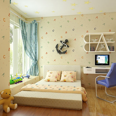 Cartoon Alphabet Children Room Wall Decoration Wallpaper For Bedroom Walls Blue Boys and Girls Kids - CarGill Sells