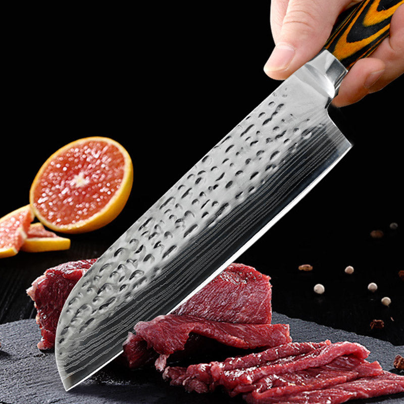 Chef Knives Kitchen knife 7 inch Japanese Stainless Steel Imitation Damascus Sanding Laser Santoku