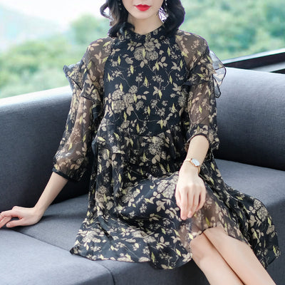Chiffon Women Casual Dresses Loose 2019 Spring And Summer New Fashion Print Ruffles Three - CarGill Sells