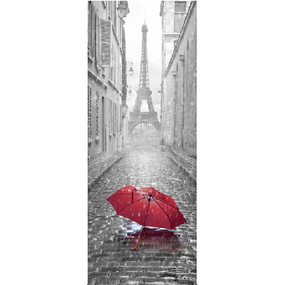 Creative Paris Pattern Self-adhesive Vinyl Fridge Stickers Mural Vintage Refrigerator Sticker Door