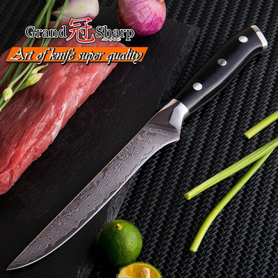 Damascus Boning Knife 5.5 Inch vg10 Japanese Damascus Steel Butcher Knife Chef's Kitchen Knives
