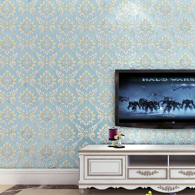 European Style Classic Luxury Damask 3D Stereo Relief Non-woven Wallpaper Living Room Bedroom - CarGill Sells