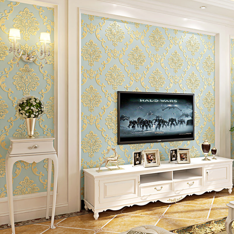 European Style Non-woven Wallpaper Luxury Damask 3D Stereoscopic Relief Damascus Bedroom Living