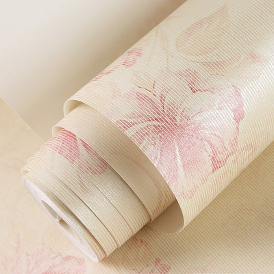 European Style Pastoral Flowers Non-woven Wallpaper Roll Pink Beige Warm Wallpaper Floral Papel De - CarGill Sells