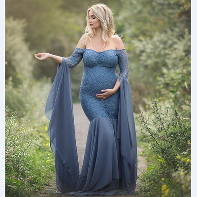 Fashion Maternity Dress for Photo Shoot Maxi Maternity Gown Long Sleeves Lace Stitching - CarGill Sells