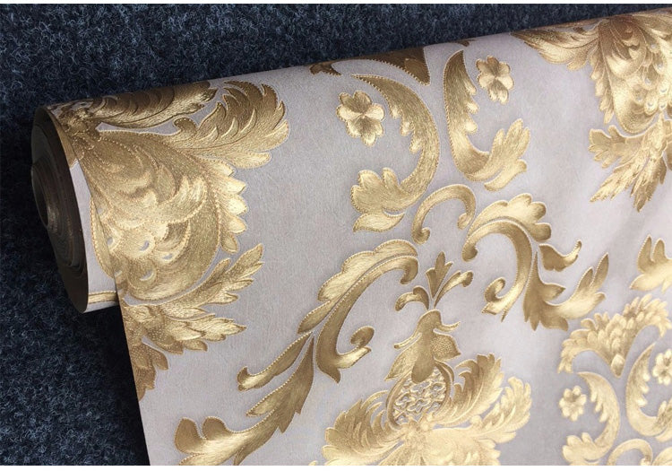 Luxury Damask Wallpaper Floral Carved Embossed Textured PVC Wallpaper For Bedroom Walls Living - CarGill Sells