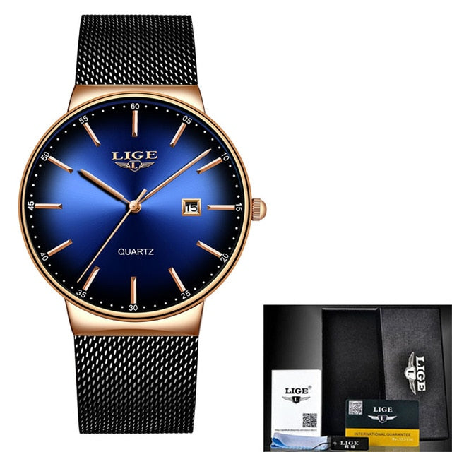 LIGE Fashion Women Watches Ladies Luxury Sport Quartz Dress Watch Ladies Full Steel Waterproof Watch Relogio Feminino