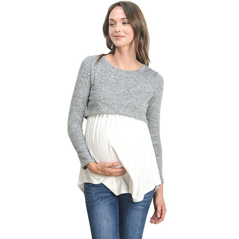 Long Sleeve Breastfeeding Pregnancy Tops Nursing Maternity Clothes For Pregnant Women - CarGill Sells