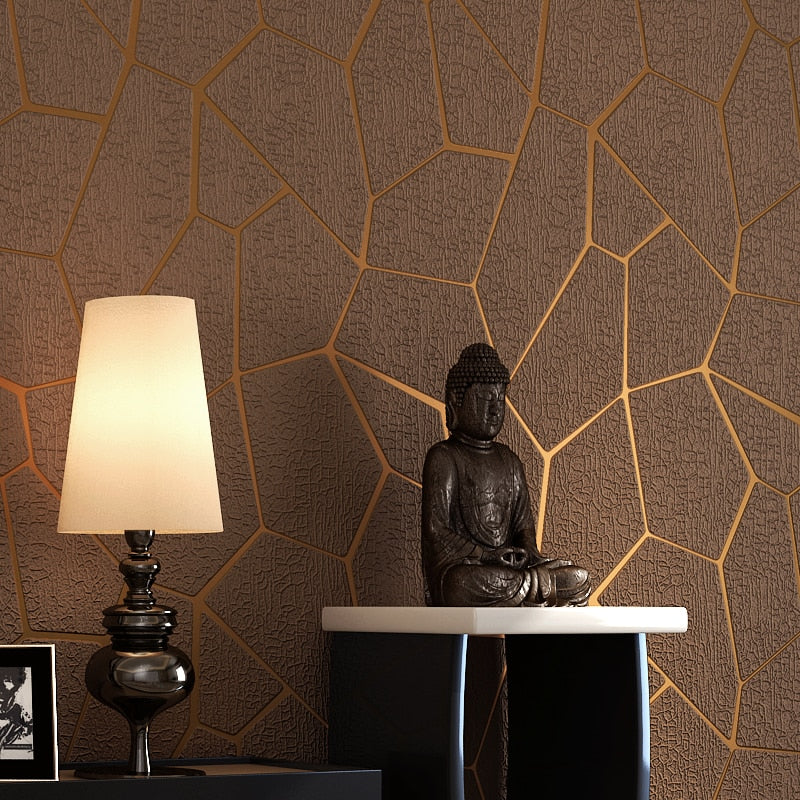 Luxury Modern Geometric Pattern Thicken 3D Stereoscopic Non-woven Fabric Wallpaper Bedroom