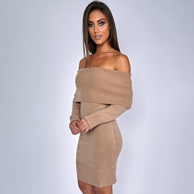 Maternity Dress Autumn Winter Pregnancy Clothes for Pregnant Women Shoulderless Sexy Mummy - CarGill Sells