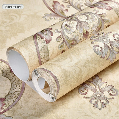 Modern Retro European Style Damask Non-woven Wallpaper 3D Embossed Wall Paper Rolls Bedroom - CarGill Sells