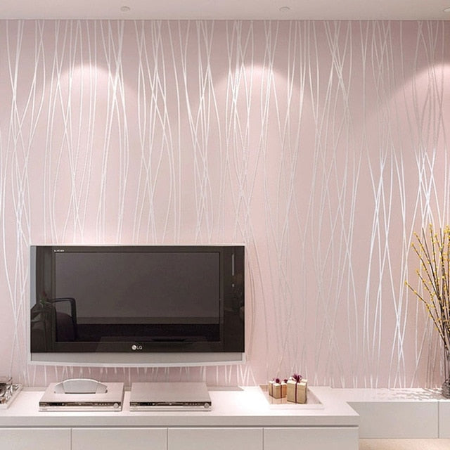Non-woven Wallpaper Plain Minimalist Living Room Warm And Solid Vertical Striped Wallpaper Roll