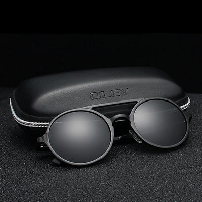 OLEY Brand New Men Round Aluminum-Magnesium Polarized Sunglasses Fashion Retro Women Sun - CarGill Sells