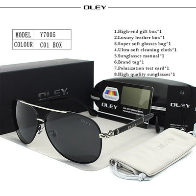 OLEY Luxury sunglasses men polarized Classic pilot Sun glasses fishing Accessories driving goggles - CarGill Sells