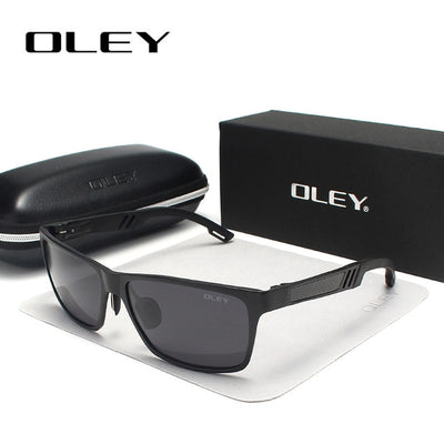 OLEY Men Polarized Sunglasses Aluminum Magnesium Sun Glasses Driving Glasses Rectangle - CarGill Sells