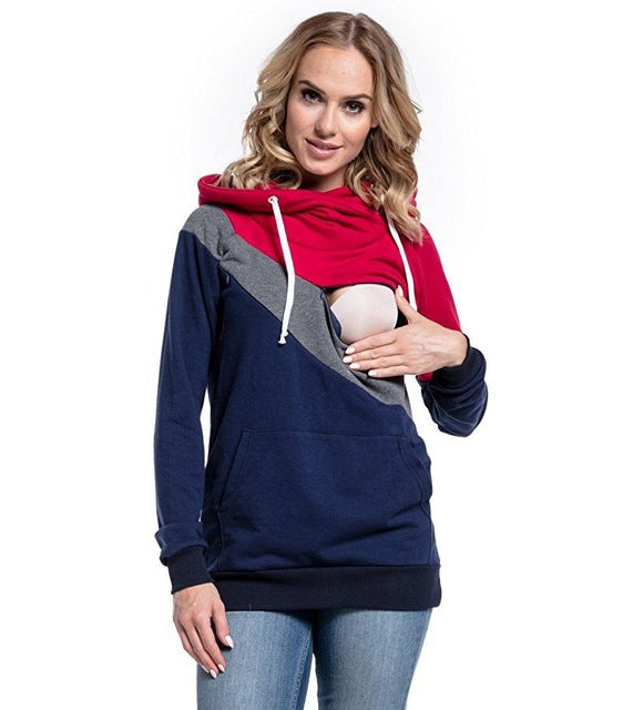 Plus Size Pregnancy Nursing Long Sleeves Maternity Clothes Hooded Breastfeeding Tops Patchwork - CarGill Sells