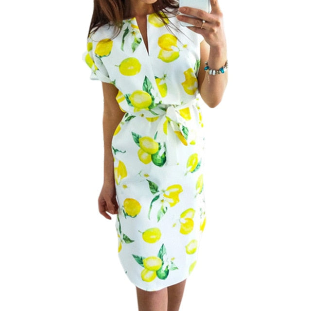 Women Casual Dresses Print Sundress Sexy 2019 Women Summer Casual Dresses V-neck - CarGill Sells