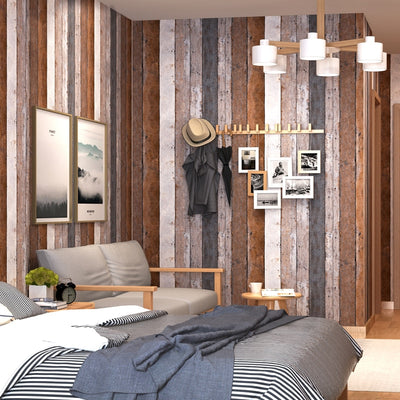 Retro Nostalgia Wood Panel Wood Grain Wallpaper Personality Living Room Study Dining Room Vertical - CarGill Sells
