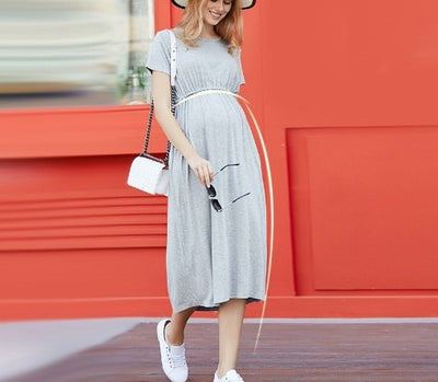 Summer Maternity Dresses High Quality Clothes For Pregnant Women Short Sleeve Long Dress - CarGill Sells