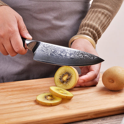 "Sunnecko Premium 6.5"" Chef's Knife Japanese VG10 Steel Core Blade G10 Handle with Stainless Steel"