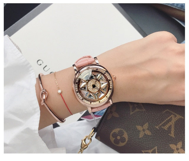 Super Ladies Watch Women Rotation Dress Watch Real Leather Band Big Dial Bracelet Wristwatch Crystal Women Watches reloj mujer
