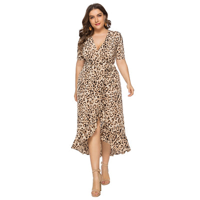 Wipalo Plus Size Leopard Print Women Casual Dresses Summer Sexy V-Neck Short Sleeve High Waist - CarGill Sells