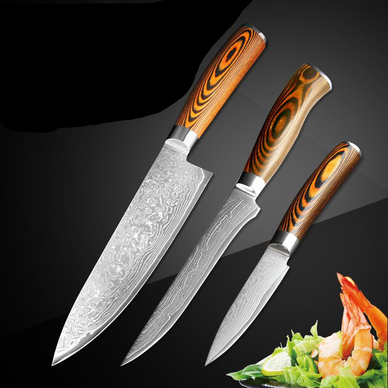 Paring utility cleaver Chef bread knife Japanese Damascus steel Kitchen Knife sets 3 pcs Santoku