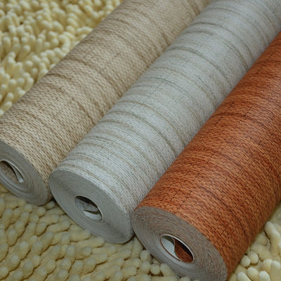 beibehang Bamboo Effect Grass Cloth Nature Plain Solid Color Taupe Brown Plain Faux Grasscloth