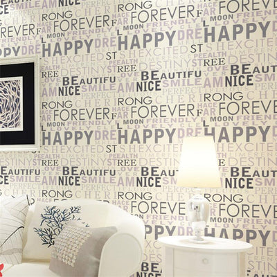 beibehang Simple modern English letter wallpaper 3D nonwovens wall paper living room bedroom TV