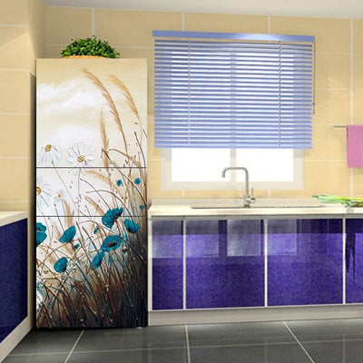 yazi Flowers Pattern Fridge Sticker PVC Refrigerator Door Stickers Mural Decoration Kitchen